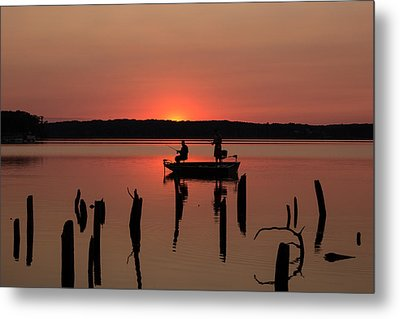 Fishing At Sunset Metal Print by Steven Olson