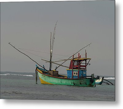 Fishing Boat At Anchor, Matara Metal Print by Panoramic Images