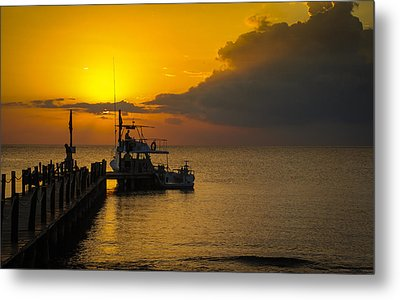 Fishing Boat At Sunset Metal Print