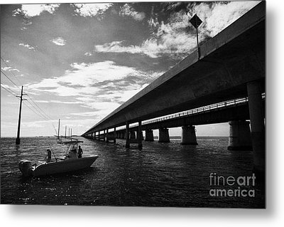 Fishing Boat Beneath New Seven Mile Bridge In Marathon In The Florida Keys Metal Print by Joe Fox