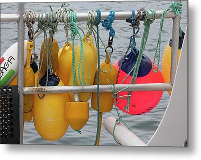 Fishing Boat Floats Metal Print by Jim West
