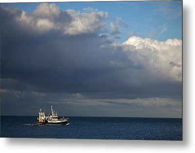 Fishing Boat In The Irish Sea Metal Print by Panoramic Images