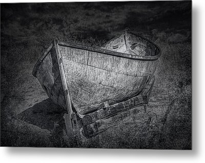 Fishing Boat On Shore In Black And White Metal Print by Randall Nyhof