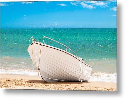 Fishing Boat On The Beach Algarve Portugal Metal Print by Amanda Elwell