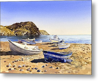 Fishing Boats At Las Negras Metal Print by Margaret Merry