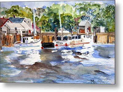 Metal Print featuring the painting Fishing Boats At Rock Harbor by Michael Helfen