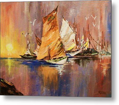 Metal Print featuring the painting Fishing Boats At Sunup by Al Brown