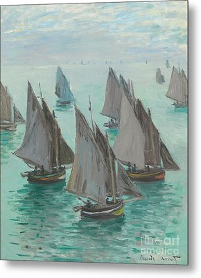 Fishing Boats Calm Sea Metal Print