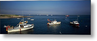 Fishing Boats In An Ocean, Cape Cod Metal Print by Panoramic Images