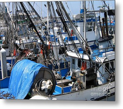 Fishing Boats In Monterey Harbor Metal Print by James B Toy
