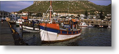 Fishing Boats Moored At A Harbor, Kalk Metal Print by Panoramic Images