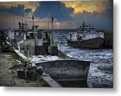 Fishing Boats Moored In The Channel With Rain Storm Moving In Metal Print by Randall Nyhof