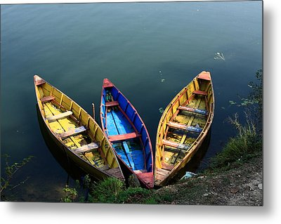 Fishing Boats - Nepal Metal Print by Aidan Moran
