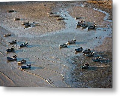 Fishing Boats On The Muddy Beach, East Metal Print
