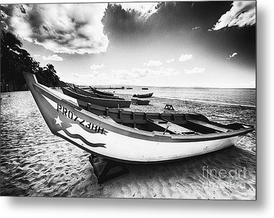 Fishing Boats On The Shore Metal Print by George Oze