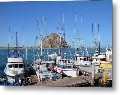 Fishing Fleet In Front Of Morro Rock Metal Print by Barbara Snyder