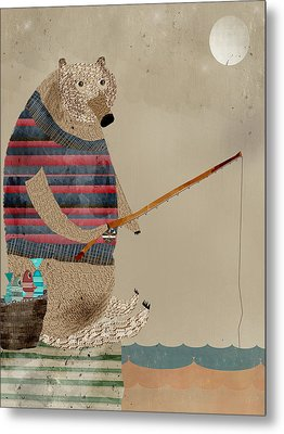 Fishing For Supper Metal Print