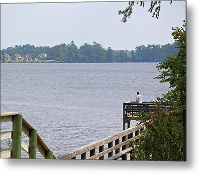 Fishing From The Pier Metal Print by Carolyn Ricks
