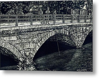 Fishing From The Stone Arched Bridge Metal Print by Robert Goudreau