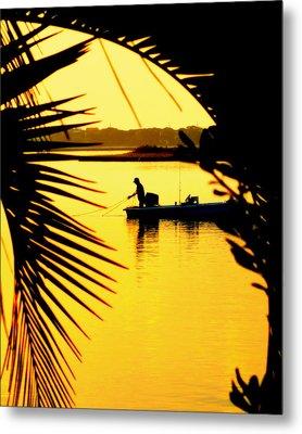 Fishing In Gold Metal Print by Karen Wiles