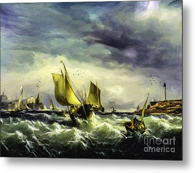 Metal Print featuring the digital art Fishing In High Water by Lianne Schneider