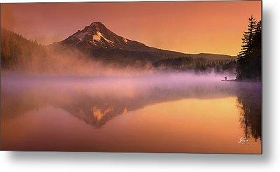 Fishing In The Fog Metal Print by Lori Grimmett