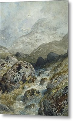 Fishing In The Mountains Metal Print