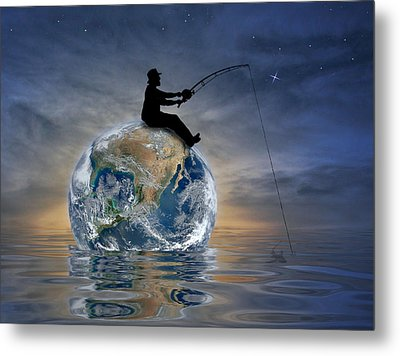 Fishing Is My World Metal Print by Nina Bradica