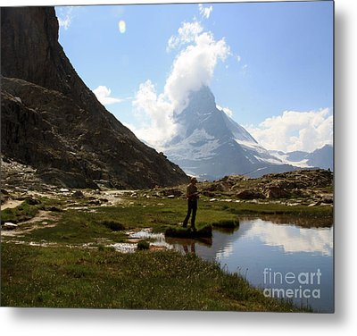Fishing Lake Matterhorn Metal Print by Juan Romagosa