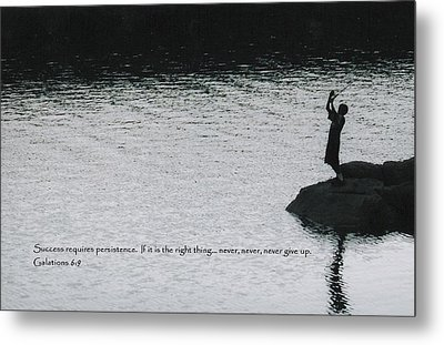 Fishing Late W/scripture Metal Print