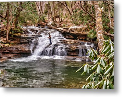 Fishing Mill Creek Falls In West Virginia Metal Print by Dan Friend