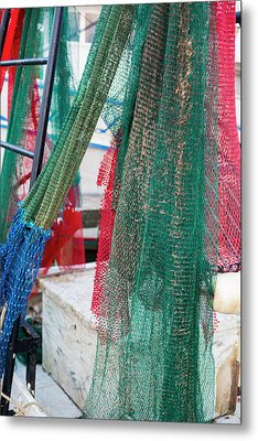 Fishing Nets On A Shrimp Boat Metal Print by Jim West