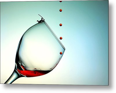 Fishing On A Glass Cup With Red Wine Droplets Little People On Food Metal Print