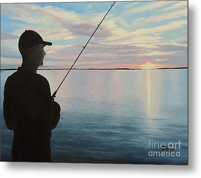 Fishing On The Flats Metal Print by Jimmie Bartlett