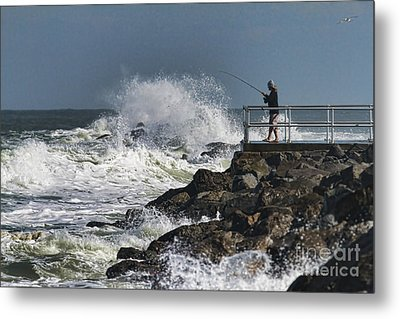 Fishing On The Pier Metal Print