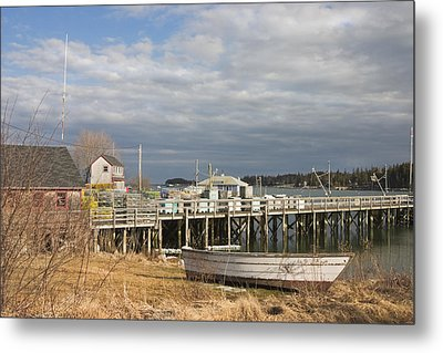 Fishing Pier And Rowboat In Tenants Harbor Maine Metal Print by Keith Webber Jr