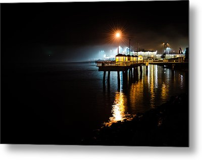 Fishing Pier At Night Metal Print by Brian Xavier