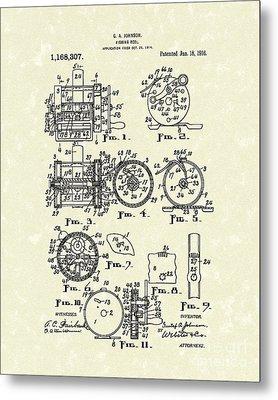 Fishing Reel 1916 Patent Art Metal Print by Prior Art Design