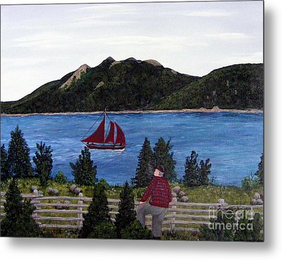 Metal Print featuring the painting Fishing Schooner by Barbara Griffin