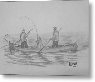 Fishing..... Metal Print by Subhash Mathew