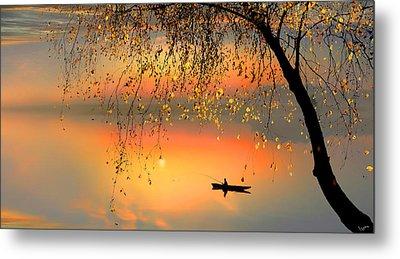 Fishing Sunset Metal Print by Igor Zenin