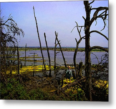 Fishing The Bottomlands Metal Print by Timothy Bulone