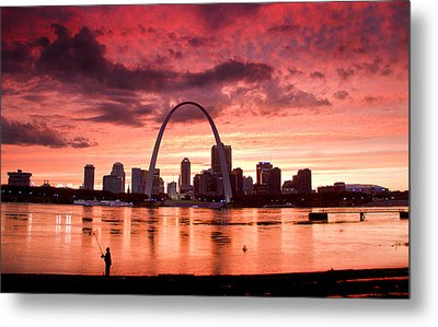 Fishing The Mississippi In St Louis Metal Print by Garry McMichael