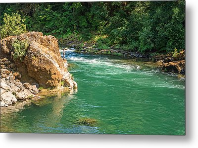 Fishing The River Metal Print by Denise Bird