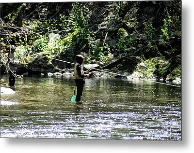 Fishing The Wissahickon Metal Print by Bill Cannon