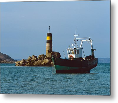 Fishing Trawler In Front Metal Print