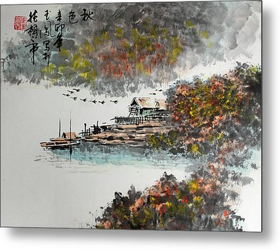 Fishing Village In Autumn Metal Print