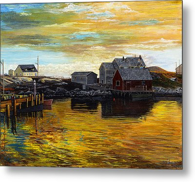 Fishing Village Maine  Metal Print by Stuart B Yaeger