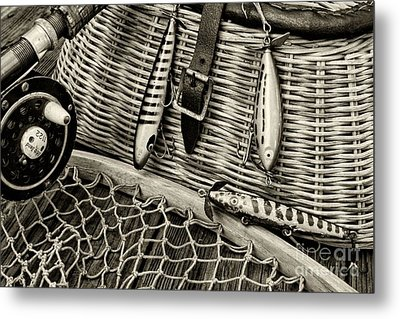 Fishing - Vintage Fishing Lures In Black And White Metal Print by Paul Ward