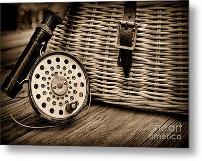 Fishing - Vintage Fly Fishing - Black And White Metal Print by Paul Ward